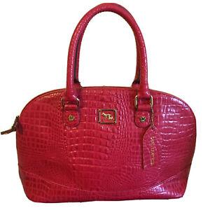 emma fox leather handbag Satchel Red EUC!