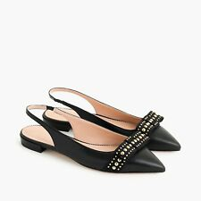 New JCREW Size 8 Gwen Black Slingback Flats in Leather with Studded Ribbon