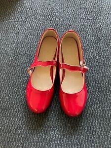 Rote Lackschuhe mit Riemchen ohne Absatz für Damen Größe 40