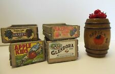 Dollhouse Miniatures 1;12 scale handcrafted wood crates w/label  & apple barrel