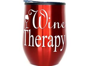 Custom 12oz Stemless Wine Tumbler/Coffee Travel Mug Glass Cup w/ Lid (Red)