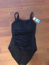 Lovely BNWT M&S Post Surgery black ruched tummy control swimsuit 20