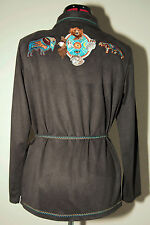 Jaclyn Smith Gray Blouse Jacket With Embroidered South Western Animals Small