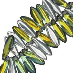 Czech Glass, Dagger Beads 5x16mm, 25 Pieces, Backlit Uranium
