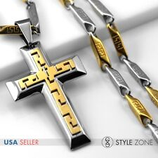 Men's 3D Gold Tone Stainless Steel Thick Cross Pendant w/ Stick Link Necklace 5C
