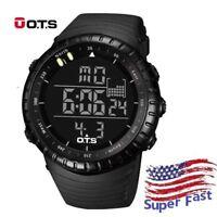 OTS Men Digital Sport Watch LED Waterproof Army Alarm Date Black Wristwatch US