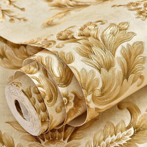Self Adhesive Wallpaper Flower Beige Damask Film Peel and Stick Contact Paper