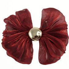 Barrette Pince À Cheveux Noeud Papillon organza rouge bordeaux cabochon argenté