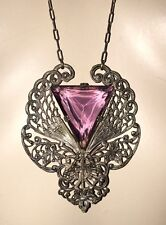 Art Deco Phoenix Geometric Amethyst Glass Necklace Rare