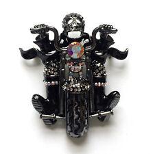 Butler and Wilson Pewterr Cristal Esqueleto Moto Motocicleta Calavera Jinete