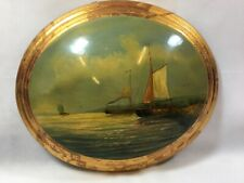 Vintage Style 'Porthole' Ships Wall Plaque Painting on Wooden Base Oval Convex