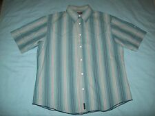 Firetrap Red White & Denim Blue Striped Short Sleeved Cotton Shirt size M
