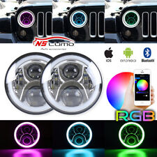 2X 7''inch 40W RGB Halo Angle Ring Bluetooth CREE LED Headlight Jeep Wrangler JK