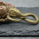 Brass Carved Statue Snake Figure Keychain Small Pendant Art Collectible Ornament