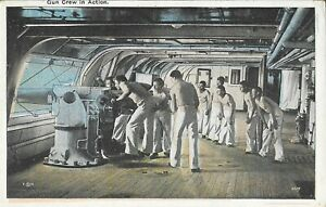 Vintage Naval Postcard, Gun Crew in Action