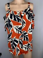 Dorothy Perkins Size 14 Top Blouse Shirt Cold Shoulder Orange Black White Summer