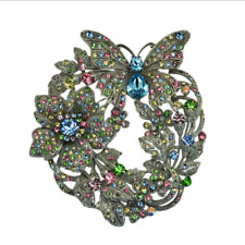 Silver Tone Butterfly Flower Pendant Brooch Pin Multi-color Austrian Crystal