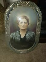 """Antique Wooden Ornate Oval Convex Bubble Glass Frame w Picture of woman 18"""" x 12"""