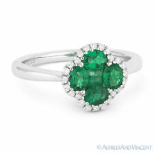 Right-Hand Flower Ring in 18k White Gold 0.83 ct Emerald Cluster & Diamond Pave