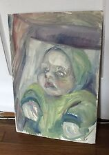 Original Soviet Russian Oil on Cardboard Painting Unknown Artist 1970