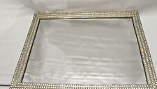 Decorative Silver Crystal Jeweled Cosmetic Vanity Tray Jewelry Organizer Tray