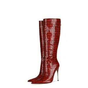 Women's Wedding Pointy Toe High Heel Casual Mid-Calf Knee High Boots Outdoor L