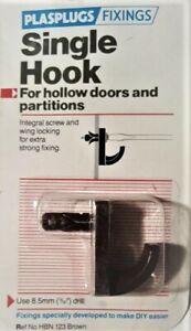 Plasplugs Fixings Hollow Door Single Fixing Hook - Brown