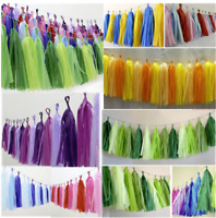 Tissue Tassels Paper Garland Bunting Birthday Party Wedding Hanging Banner Decor
