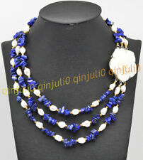 3 Rows Blue Lapis Lazuli Gravel White Baroque Pearl Necklace 17-19'' Shell Clasp