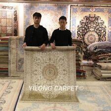 Yilong 4'x6' Beige Silk Hand Knotted Persian Area Rug Handwoven Home Carpet 109B