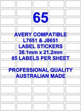AVERY L7651 & J8651 COMPATIBLE ADDRESS LABEL STICKERS 65 X 5 SHEETS LASER INKJET