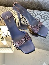 SERGIO ROSSI, Vintage, Snake Leather, Strappy High Heels, Lilac, Size 6.5/39.5
