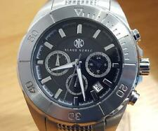 Mens XL Dark Steel Klaus Kobec Black Analog Date Chrono Luxury Sports Watch