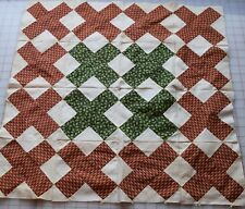 54 antique 1860-70 small X patch quilt blocks, madder red/brown, beautiful green