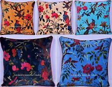 "200 PC Indian Velvet Bird Floral Cushion Cover 16"" Pillow Cover Sofa Bed Throw"
