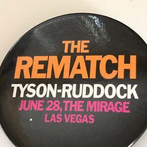 Vintage 90s Mike Tyson Ruddock Boxing Re Match Las Vegas Advertising Button Pin
