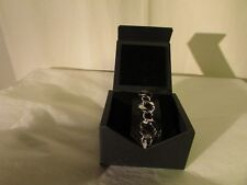 bracelet Pierre LANG cuir noir façon reptile métal et strass