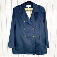 LIZ CLAIBORNE Women's Double Breasted Navy Jacket Size Petite Large PL