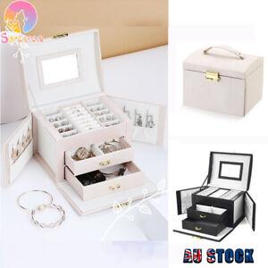 Large PU Leather Jewellery Box Rings Storage Organiser Display Travel Case
