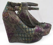ALDO size 6 (39) multi coloured textile high heel wedge courts