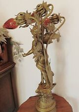 ANTIQUE FRENCH MOREAU SCULPTURE  ANGEL STAIR LAMP WITH A TAMBOURINE & CASTANET