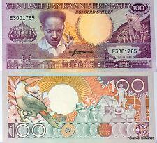 SURINAME banconota nove di 100 GULDEN Pick133a ANTON DEKOM TOUCAN 1986