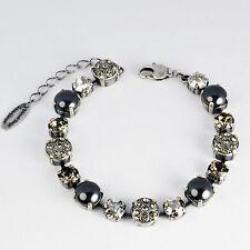 Grevenkämper Armband Swarovski Kristall Pavé Perlen Tennis Silber grau Grau-Mix