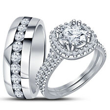 14K White Gold Plated Diamond Trio His & Her Bridal Wedding Engagement Ring Set
