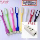 4 PCS Flexible Bright Mini USB LED Light Lamp for Notebook Laptop Desk Reading