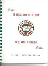 1962-63 Quebec Aces Information Book Media Guide RARE!!