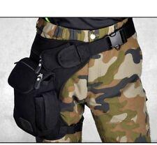 Drop Leg Bag Black Men Canvas Waist Pack Belt Outdoor Tactical Hip Pouch Travel