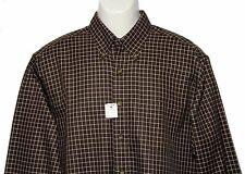 Mens Brooks Brothers Non-Iron Cotton Shirt Brown White Check Size Medium