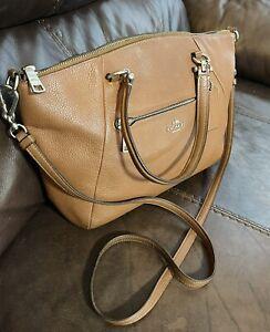 Coach Prairie satchel 79997 SHOULDER BAG CROSSBODY Pebbled Leather Camel Tan