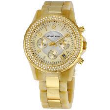 Michael Kors Madison Horn Acetate & Gold Tone Chronograph Ladies Watch - RRP$700